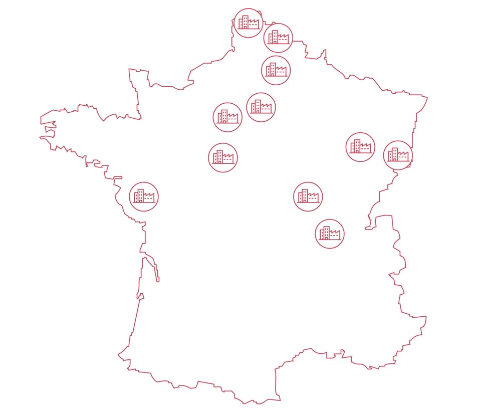 Atlantic Fabricant Français - 1  Carte des usines en France